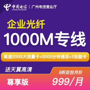 【尊享版】广州电信光纤200M/500M/1000M包月宽带/预付费300元