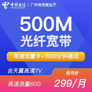 500M融合宽带 包月299元 包年2990元