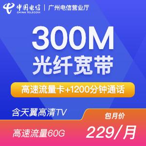 300M融合宽带 包月229元 包年2290元